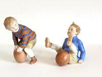 "2 RARE Erphila German Bisque Boys W/ Football 1 Hiking 5"" EXC Condition Pre 1940"