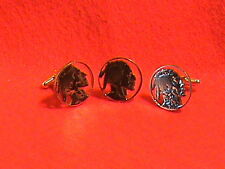 Hand cut Indian head nickel, 24 kt gold plated made into cuff links and tie tac