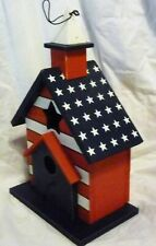 American Flag Painted Wood Birdhouse With Cleanout Door