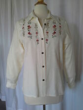 SIZE 12P - New $60.00 ALFRED DUNNER Ivory Button Down Embossed Top Shirt