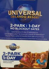 Universal Orlando Resort FL  Gift Card/Tickets 2 Park/1 Day No Blockout Dates!!