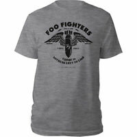 FOO FIGHTERS Stencil Mens T Shirt Unisex Tee Official Licensed Band Merch Grey