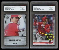 2 LOT SHOHEI OHTANI 2018 LEAF SILVER ROOKIE + TOPPS GOLD CUP 1ST GRADED 10 CARD