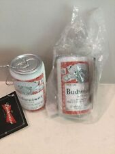 TWO (2) Kurt S. Adler  Budweiser Ornament Frosted Beer cans Can 3""
