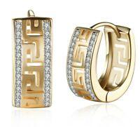 Womens 18K Gold Plated Greek Style Huggie Hoop Earrings - W/ Swarovski Crystals