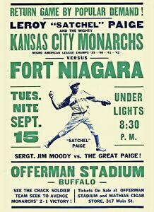 KANSAS CITY MONARCHS vs FORT NIAGARA 8X10 PHOTO BASEBALL POSTER PICTURE S PAIGE