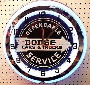 "18""  DODGE Cars & Trucks Sign Double Neon Clock Charger Dart Challenger Mopar"