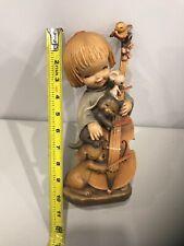 "Anri Ferrandiz Wood Carved Figurine ""Girl Playing Cello with Animals Rare 10inch"