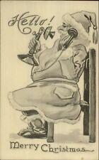 Christmas - Santa Claus on Telephone - Bernhardt Wall c1915 Postcard