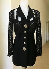 GIANNI VERSACE COUTURE black blazer with lace shoulders back and sleeves