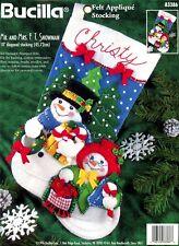 "Bucilla Mr And Mrs F.T. Snowman ~ 18"" Felt Christmas Stocking Kit #83386 Vintage"