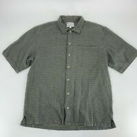 Columbia Mens Button up Short Sleeve Shirt Size L Woven Brown Gingham Flannel