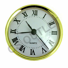 Clock Insert 80mm Bezel fit 75mm Hole, Gold, Roman Numerals, Quartz Watch