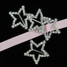 5Pcs Star Rhinestone Silver Buckle For Ribbon Slider Invitation Wedding Supplies