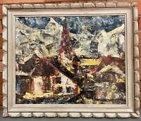 Vintage 60s Abstract Landscape Framed Oil Painting Mid Century Modern Art Signed