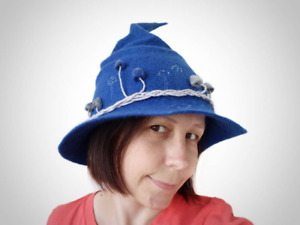 Handmade Blue modern Witch hat Halloween with mushrooms felted from natural wool
