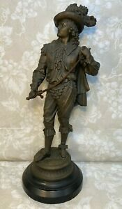 """French Musketeer w/ Drawn Sword Cast Metal Figural on Slate Base 20"""" Tall"""
