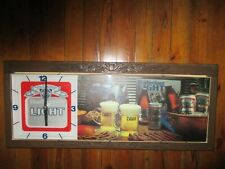 "VINTAGE 1979 BUDWEISER BEER LIGHTED SIGN W/CLOCK-33""X14"""