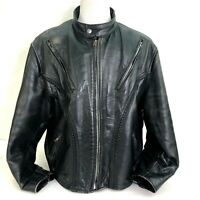 Black Leather Jacket (Unbranded) Braided Zip Pockets Mens XXL Vented Motorcycle
