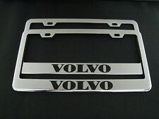 2 VOLVO Stainless Steel Chrome license plate Frame + screw caps