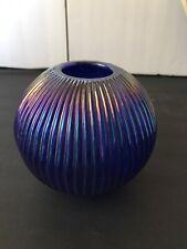 """2 Vintage Art Glass Iridescent Blue Table Lamp Tea Votive Candle, 5""""T"""