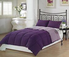 3-Piece Goose Down Alternative Reversible Comforter Set Full/Queen Purple