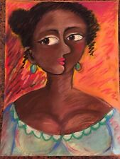Original Pastel Drawing By MBollen Black African American Picasso Style Cubism