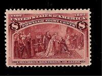 US 1893  Sc# 236  8 c Columbian  Mint HR - Dark Magenta - Crisp Color