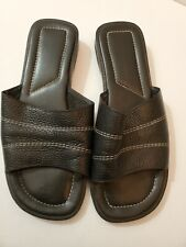Montego Bay Slides Sandals Women's Size 8W Black Leather Upper Slip-on Open Toe