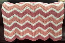 CROCHET blanket afghan couch throw baby chevron ripple handmade PINK 42x46 girl
