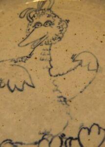 "STUDIO ART 8.5"" PLATE GRAY & COBALT BLUE STONE WARE ""BIG BIRD"" ONE OF A KIND"