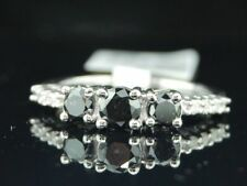 Ladies 10K White Gold 1.06Ct. 3 Stone Black Diamond Engagement Ring Wedding Band