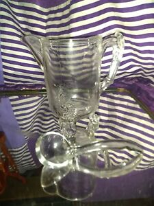 Crystal Clear Harp Pattern Gravy Footed Boat And Ladle