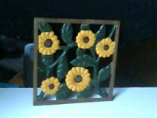 Medium Square Sunflower Cast Iron Wall Hanging with Hanging Strap