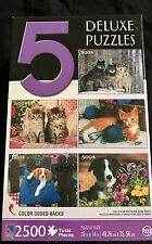 5 Deluxe Jigsaw Puzzle 2500 pieces Total 500 New Sealed Wolves Kittens Puppies