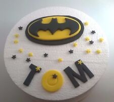 Edible Sugarpaste BATMAN Cake Topper with 50 Stars & Name