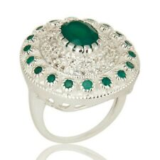 925 Sterling Silver Natural Green Onyx White Topaz Ring, Wedding Gift Jewelry