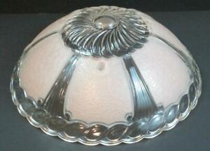 "Vintage Floral Art Deco Pale Pink Glass Ceiling Light Fixture Shade 10 1/4"" d"