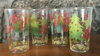 Vintage 1950s FEDERAL Christmas  Juice Glass Set of 4  x 8 ounce Great Graphics