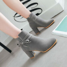 Women Ankle Boots Suede Casual Pointed Toe Work High Block Heel Shoes Bow Tie