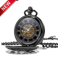 Dragon Phoenix Skeleton Mechanical Pendant Chain Pocket Watch Steampunk Antique