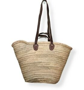 Straw Bag French Market Style Basket Tote for Beach Summer Large Moroccan Made