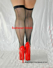 New Rock Chick Punk Biker Black Fishnet Seamed Stockings One Size Leg Avenue