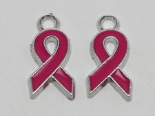 10 Silver Tone Enamel Deep Pink Ribbon Breast Cancer Awareness Charms Pendants