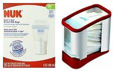 NUK/Gerber Seal N Go Breast Milk Bags (50 Count) with Milk Bag Storage Rack