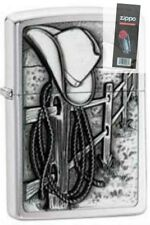 Zippo Zo24879 Resting Cowboy Brushed Chrome Windproof Lighter