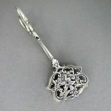 Antique Art Nouveau Pastry Tongs IN Silver With Meeresgottheit And Dolphin