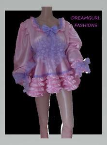 satin dress Fancy dress sissy lolita cosplay full skirt pussy bow long sleeve