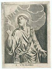 XVIIIsec SANCTUS STEPHANUS santino acquaforte Santo Stefano Saint Stephen