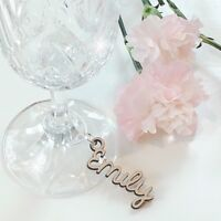 Wooden Wine Glass Charm, Place Name Keyring, Wedding Place Name